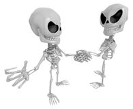 3D Skeleton Mascot is Competitors will shake the false divide ea Royalty Free Stock Images