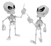 3D Skeleton Mascot contended with for opponents of something. 3D Stock Images