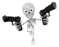 3D Skeleton Mascot is cowboys holding an automatic pistol with b Royalty Free Stock Photography