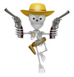 3D Skeleton Mascot is cowboys holding a revolver gun with both h Stock Images