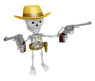 3D Skeleton Mascot is cowboys holding a revolver gun with both h Royalty Free Stock Photo