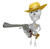 3D Skeleton Mascot cowboys is holding a revolver gun pose. 3D Sk Stock Photography