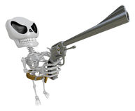 3D Skeleton Mascot cowboys is holding a revolver gun pose. 3D Sk Royalty Free Stock Images