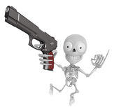 3D Skeleton Mascot is cowboys taking to pose a gunfight. 3D Skul Royalty Free Stock Image