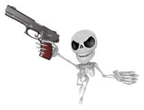 3D Skeleton Mascot is cowboys taking to pose a gunfight. 3D Skul Royalty Free Stock Images