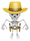 3D Skeleton Mascot is cowboys taking to pose a gunfight. 3D Skul Stock Image