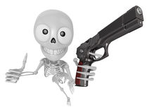 3D Skeleton Mascot is cowboys taking to pose a gunfight. 3D Skul Stock Images