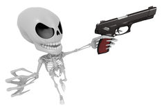 3D Skeleton Mascot is cowboys taking to pose a gunfight. 3D Skul Stock Photos