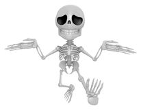 3D Skeleton Mascot is doing not to know gestures. 3D Skull Chara Royalty Free Stock Image
