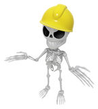 3D Skeleton Mascot is doing not to know gestures. 3D Skull Chara Stock Images