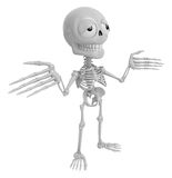 3D Skeleton Mascot is doing not to know gestures. 3D Skull Chara Stock Photos