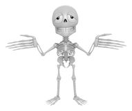 3D Skeleton Mascot is doing not to understand gestures. 3D Skull Royalty Free Stock Image