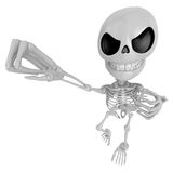 3D Skeleton Mascot is fighting gestures. 3D Skull Character Desi Royalty Free Stock Image