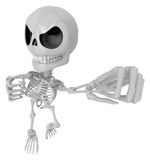 3D Skeleton Mascot is fighting gestures. 3D Skull Character Desi Royalty Free Stock Photo