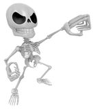 3D Skeleton Mascot is fighting gestures. 3D Skull Character Desi Royalty Free Stock Photos