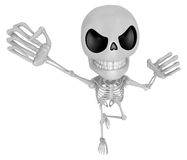 3D Skeleton Mascot is fighting gestures. 3D Skull Character Desi Royalty Free Stock Images