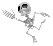 3D Skeleton Mascot Goes up like a cartoon hero. 3D Skull Charact Stock Photography