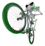 3D Skeleton Mascot is Going on a bike trip. 3D Skull Character D Royalty Free Stock Images