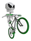 3D Skeleton Mascot is Going on a bike trip. 3D Skull Character D Stock Photography