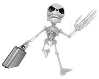 3D Skeleton Mascot is gone to work and holding a briefcase. 3D S Stock Photos