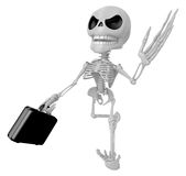 3D Skeleton Mascot is gone to work and holding a briefcase. 3D S Stock Images