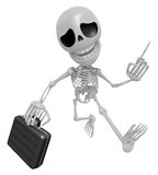 3D Skeleton Mascot is gone to work and holding a briefcase. 3D S Royalty Free Stock Photography