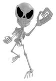 3D Skeleton Mascot is guarding gestures. 3D Skull Character Desi Stock Images