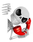 3D Skeleton Mascot hand is holding a board and telephone. 3D Sku Royalty Free Stock Photography