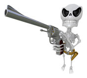 3D Skeleton Mascot hand is holding a board and telephone. 3D Sku Stock Images
