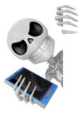 3D Skeleton Mascot hand is holding a board and telephone. 3D Sku Royalty Free Stock Images