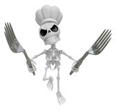 3D Skeleton Mascot hand is holding a Fork. 3D Skull Character De Royalty Free Stock Photo