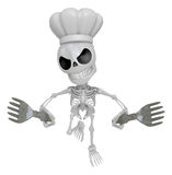 3D Skeleton Mascot hand is holding a Fork. 3D Skull Character De Royalty Free Stock Photography