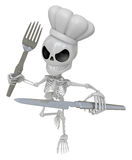 3D Skeleton Mascot hand is holding a Fork and Knife. 3D Skull Ch Royalty Free Stock Images