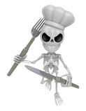 3D Skeleton Mascot hand is holding a Fork and Knife. 3D Skull Ch Stock Photography