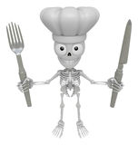 3D Skeleton Mascot hand is holding a Fork and Knife. 3D Skull Ch Stock Photos