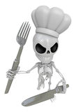 3D Skeleton Mascot hand is holding a Fork and Knife. 3D Skull Ch Stock Image