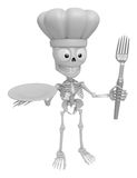3D Skeleton Mascot hand is holding a Fork and Plate. 3D Skull Ch Stock Images
