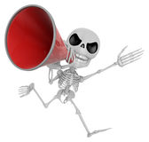 3D Skeleton Mascot the hand is holding a loudspeaker. 3D Skull C Stock Photo