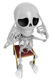 3D Skeleton Mascot a hard problem that is occurred. 3D Skull Cha Royalty Free Stock Image