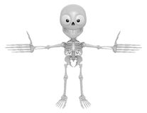 3D Skeleton Mascot has been welcomed with both hands. 3D Skull C Royalty Free Stock Images