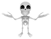 3D Skeleton Mascot has been welcomed with both hands. 3D Skull C Royalty Free Stock Photo