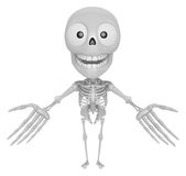 3D Skeleton Mascot has been welcomed with both hands. 3D Skull C Royalty Free Stock Photos