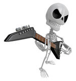 3D Skeleton Mascot has to be playing the electric guitar. 3D Sku Stock Photography