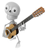 3D Skeleton Mascot has to be playing the guitar. 3D Skull Charac Stock Photo