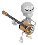 3D Skeleton Mascot has to be playing the guitar. 3D Skull Charac Stock Photography
