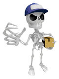 3D Skeleton Mascot is having a fit of anger, holding delivery bo Royalty Free Stock Photography