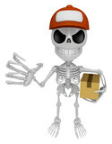 3D Skeleton Mascot is having a fit of anger, holding delivery bo Stock Photography