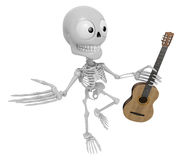 3D Skeleton Mascot is holding acoustic guitar. 3D Skull Characte Stock Photo