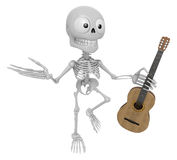3D Skeleton Mascot is holding acoustic guitar. 3D Skull Characte Royalty Free Stock Images