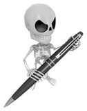3D Skeleton Mascot is holding a big ballpoint pen with both hand Stock Images